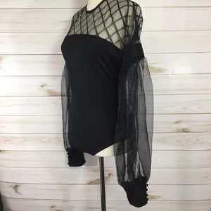 Tops - Bodysuit w/organza sleeves & sheer top size L